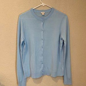 J. Crew the Caryn cardigan cotton sky blue sweater